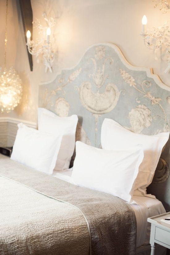 Paris hotel, bedroom inspiration, light blue, white, French linens