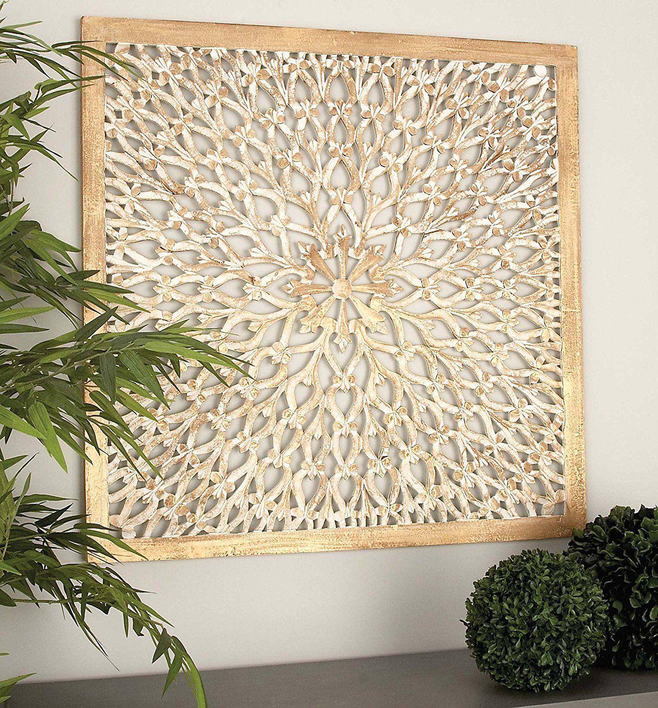 Amazon Com Deco 79 23774 Wood Wall Panel 36 X 36 White Home Kitchen Wood Wall Decor Decorative Wall Panels Wall Decor