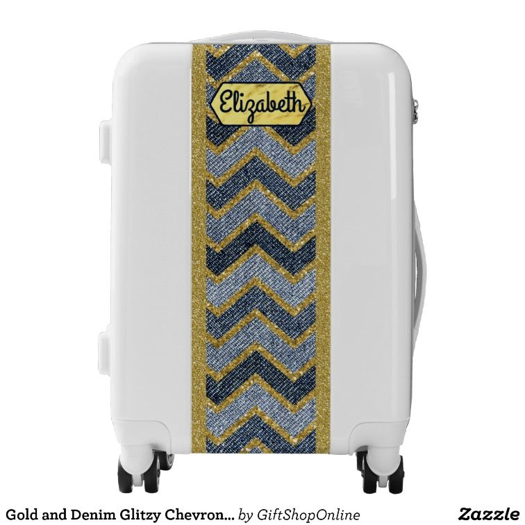 Gold and Denim Glitzy Chevron Stripes Personalized Luggage.  #carryonluggage #monogrammedluggage