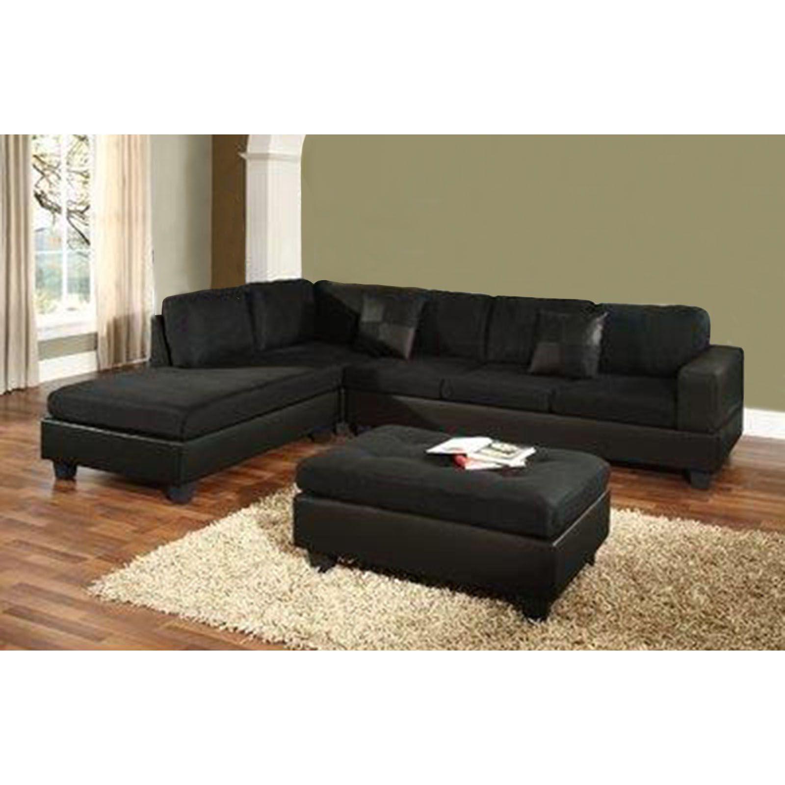 Venetian Worldwide Dallin Sectional Sofa Black Right Furniture Mattresses Living Room Furniture Sofas Black Sofa Sectional Sofa Mattress Furniture #sears #living #room #furniture