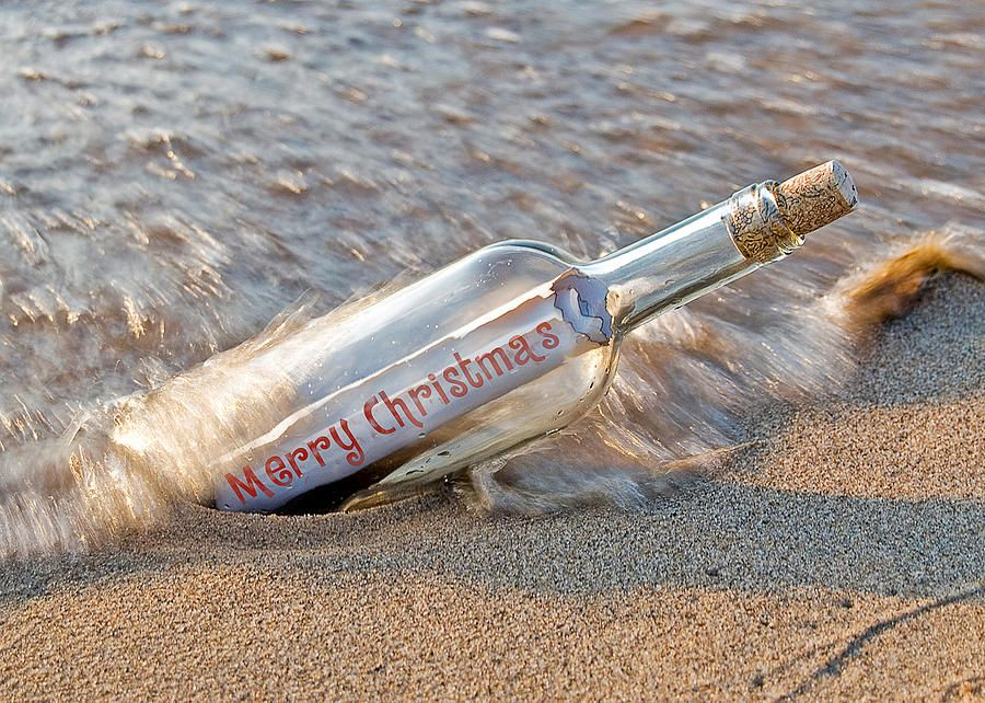 Merry Christmas Message in a bottle photograph Holidays By The