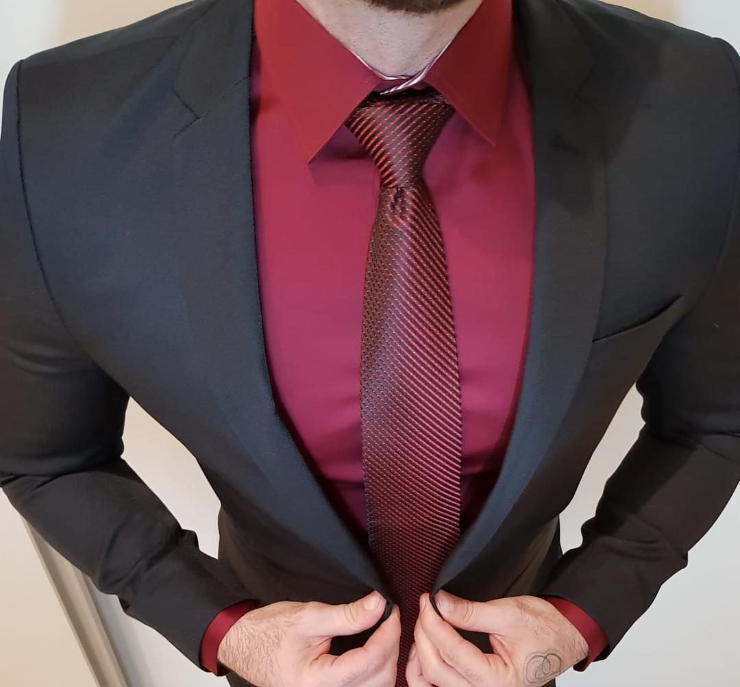 Black blazer with red shirt and tie outfit for men mensfashion