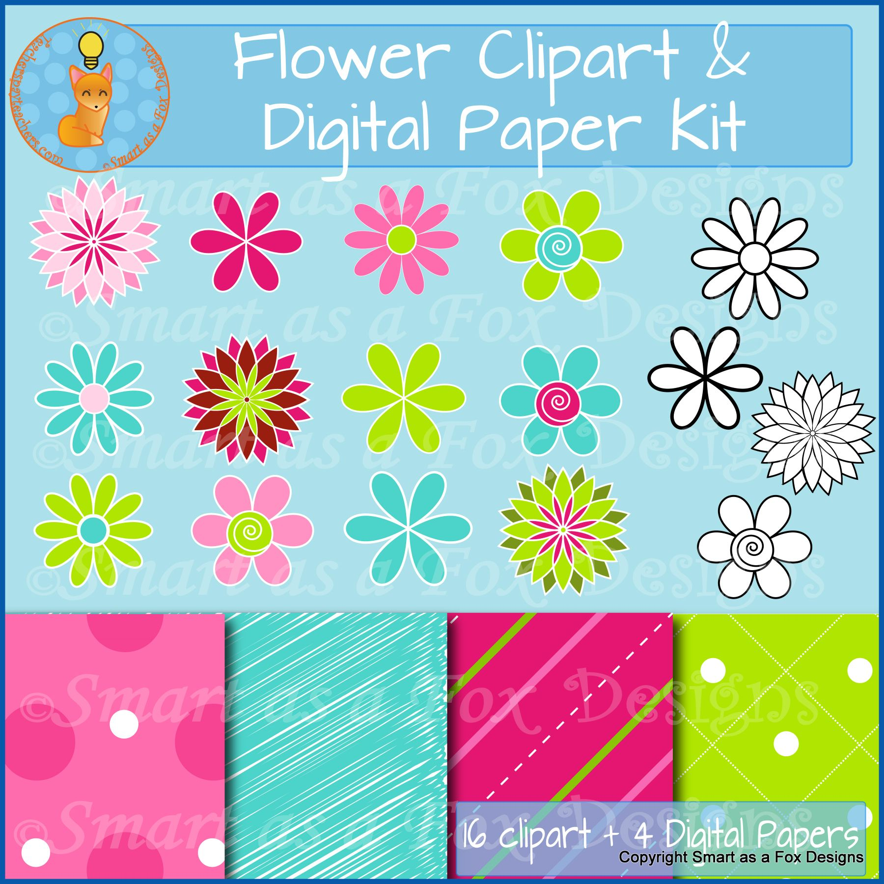 Spring Flowers And Digital Papers Bundle In Pink And Green Clipart