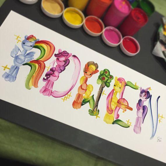 My Little Pony Name Painting custom by SeyStudios on Etsy