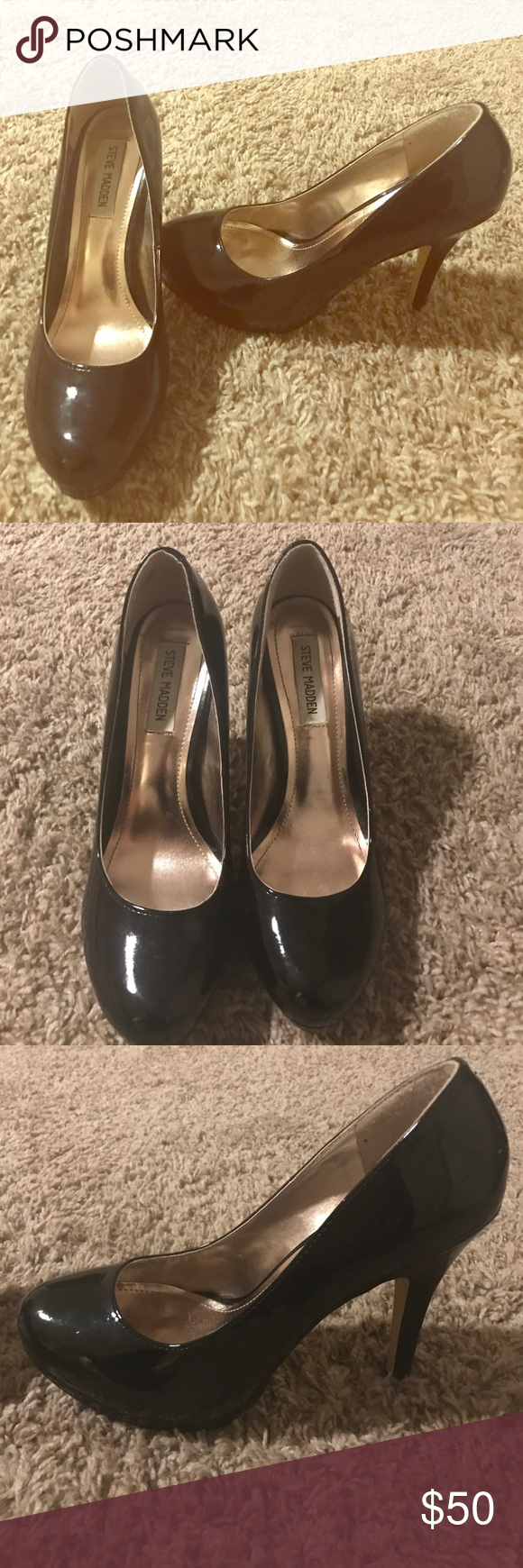 Steve Madden pumps Re posh! Too small for me! But so cute! Patent leather shiny. Adorable Steve Madden Shoes Heels