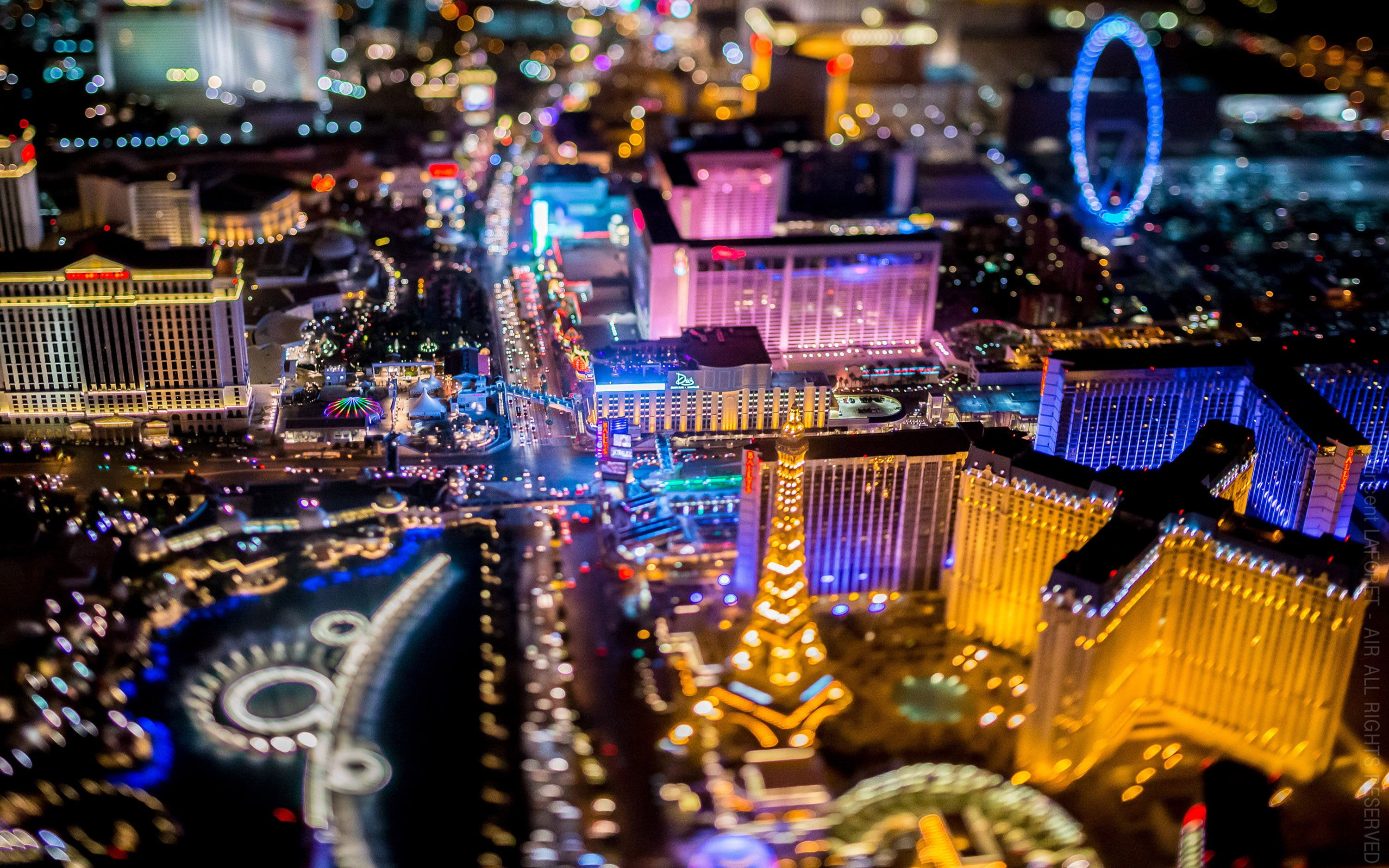 Las Vegas Nevada Downtown Night Photography From Helicopters