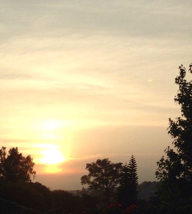 El amaneces con unos pocos árboles debajo de el es una vista hermosa