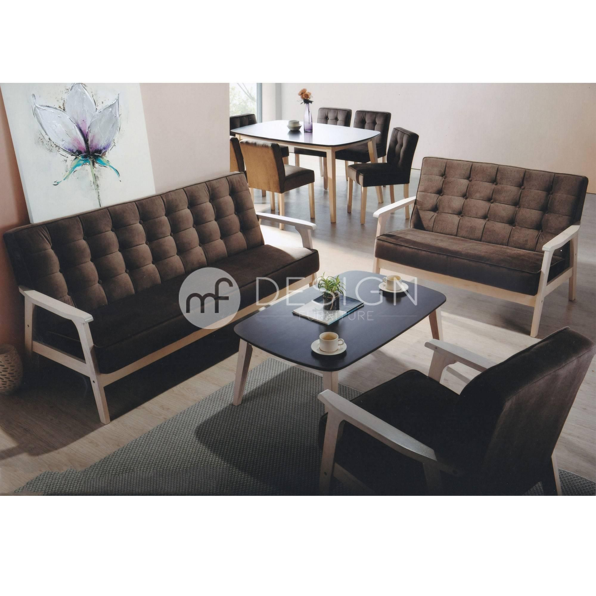 SWEDEN II ANTIQUE ESPRESSO 1 2 3 TABLE SOFA SET