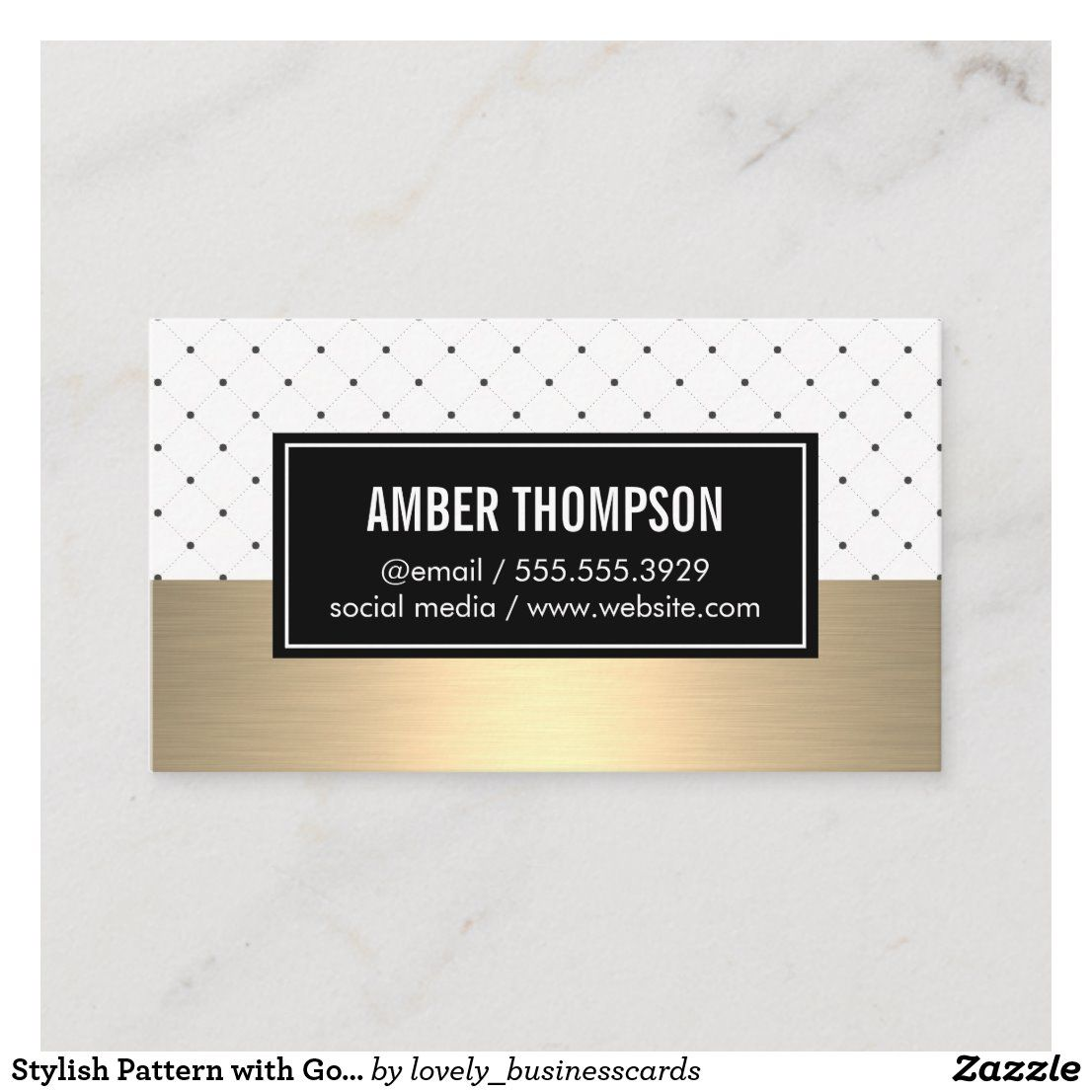 Stylish Pattern With Gold Lux Business Card Zazzle Com Luxe Business Cards Business Card Pattern Professional Business Cards