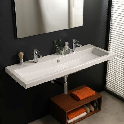 long rectangle sink double faucet for kids bathroom to be set on ... - Lavandino Condal Bagno In Ceramica Con Troppopieno