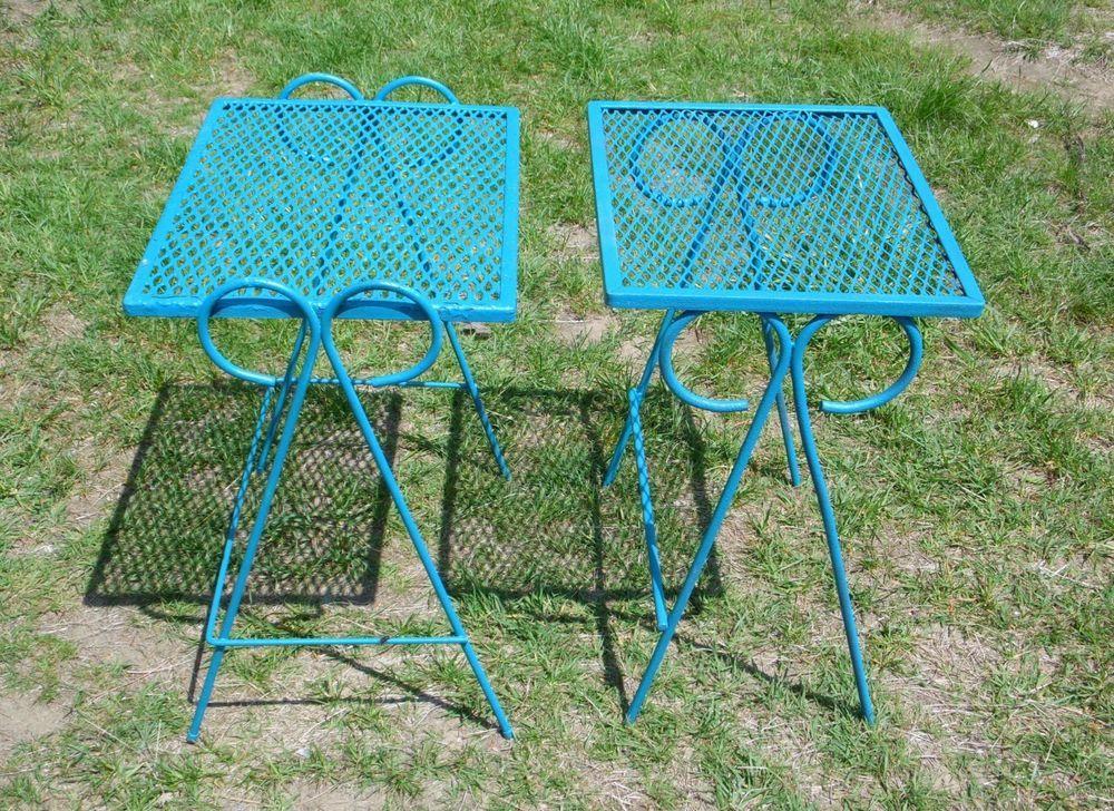 Vintage Set Wrought Iron Mesh Metal Nesting Tables Outdoor Patio Stand  Salterini