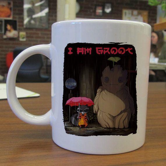 cute groot and stuffy as totoro ceramic mug by Seemugskecil