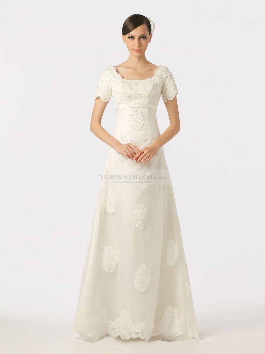 Roderica - manga corta vestido de novia de tul y satén | Wedding ...