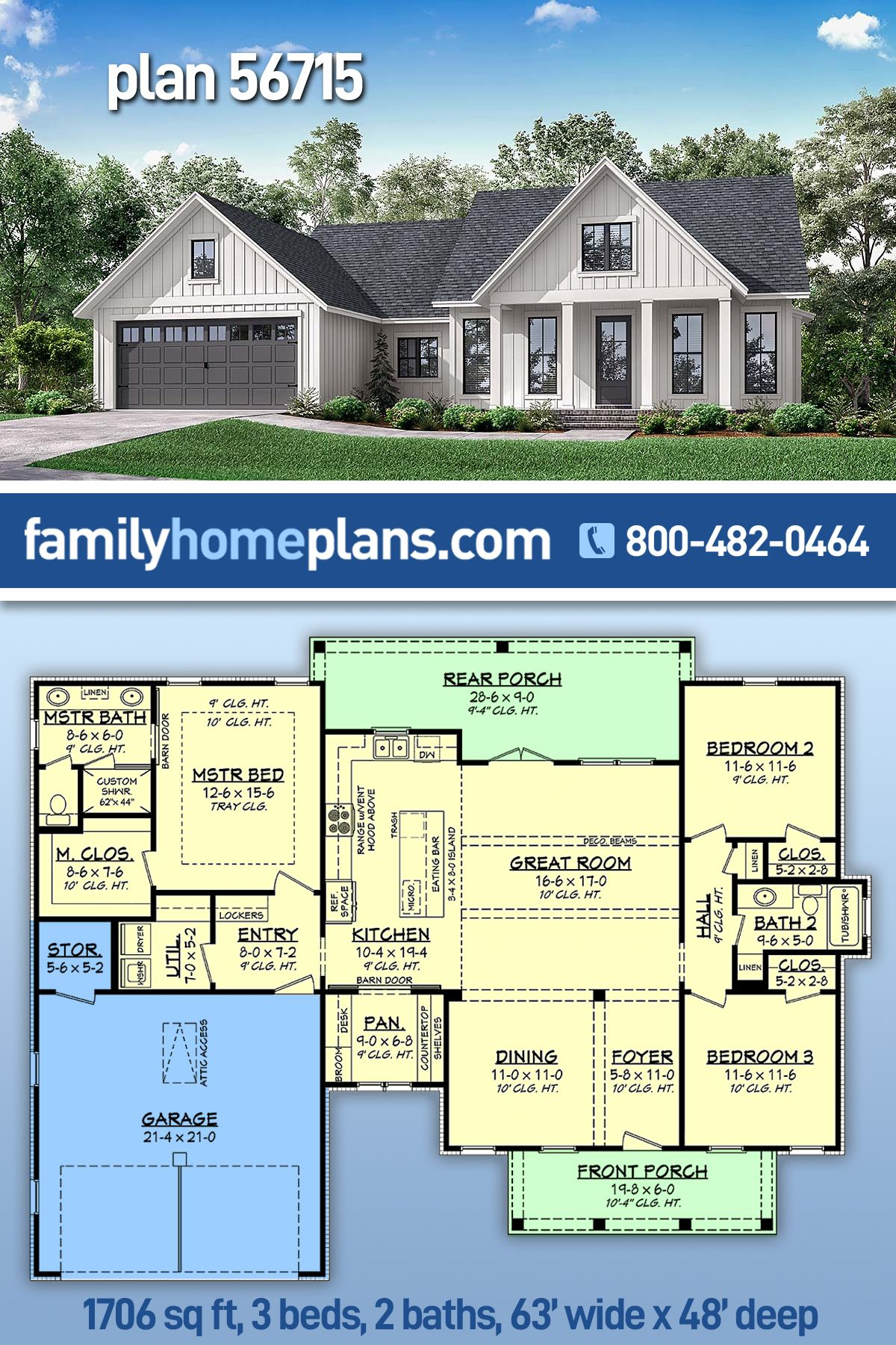 Traditional Style House Plan 56715 With 3 Bed 2 Bath 2 Car Garage In 2021 Barn House Plans House Plans Cottage Style House Plans