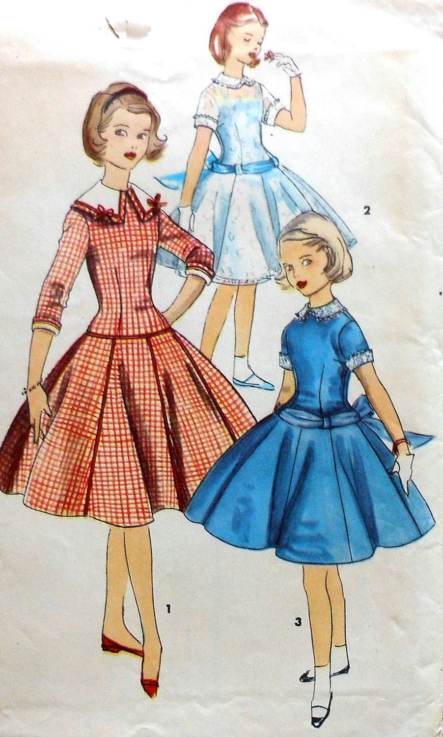 Vintage Girls Party Dress Sewing Pattern UNCUT Simplicity 1328 Size ...