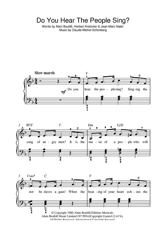 Do You Hear The People Sing From Les Mis Sheet Music With Images