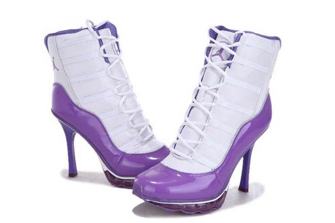 cheap Nike Air Jordan 11 High Heels Boots White Purple Womens 42016  CAD126.38