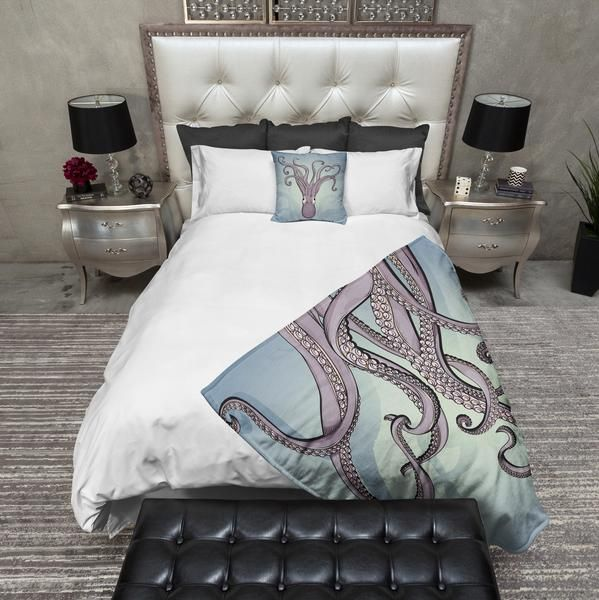 Purple Tentacle Octopus Decorative Throw and Pillow Set & Purple Tentacle Octopus Decorative Throw and Pillow Set   Blanket ...