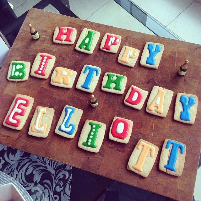 Birthday letterpress sugar cookies for dear husbands birthday back in November