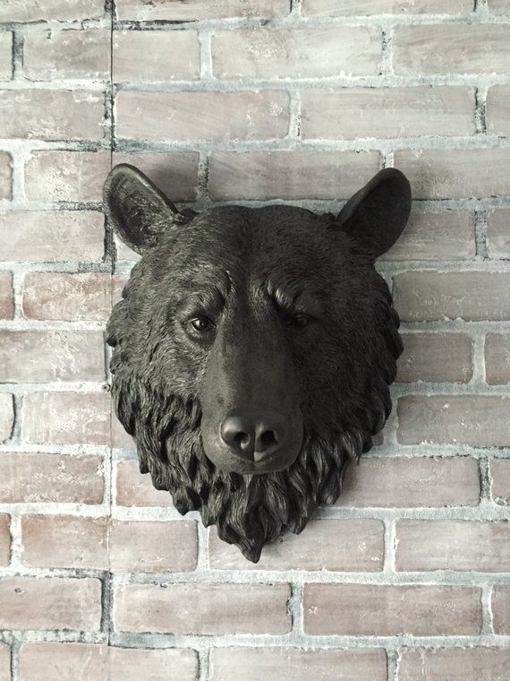 Any Color Or Faux Black Bear Head Wall Mount Taxidermy Decor Large Fake Animal Scupture