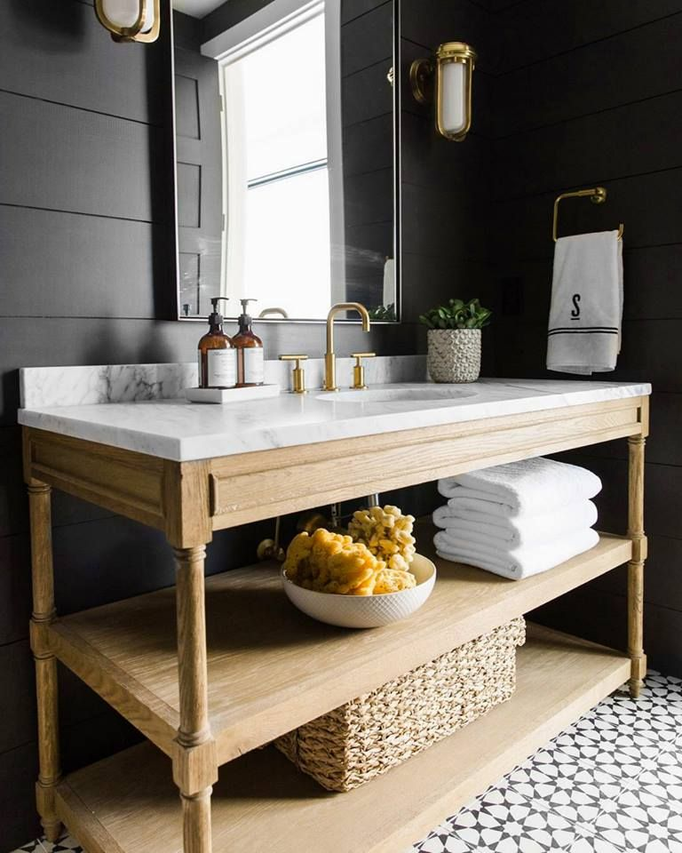 We Like The Rise Of The Brown Bottle Sink Side In The Chicest Kitchens And Bathrooms But We Love The St Shiplap Bathroom Modern Mountain Home Cottage Bathroom
