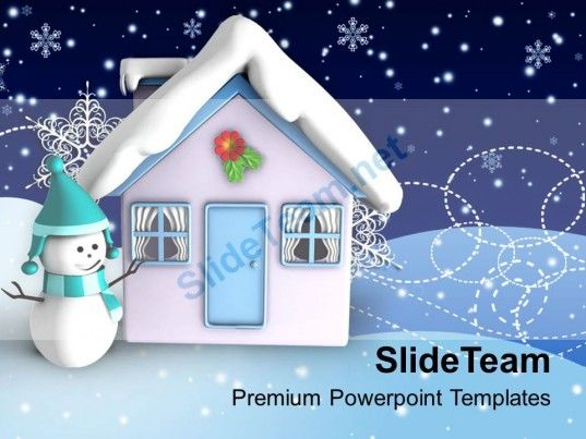 Christmas Angels Happy 3d Illustration Of House With Theme Holidays - winter powerpoint template
