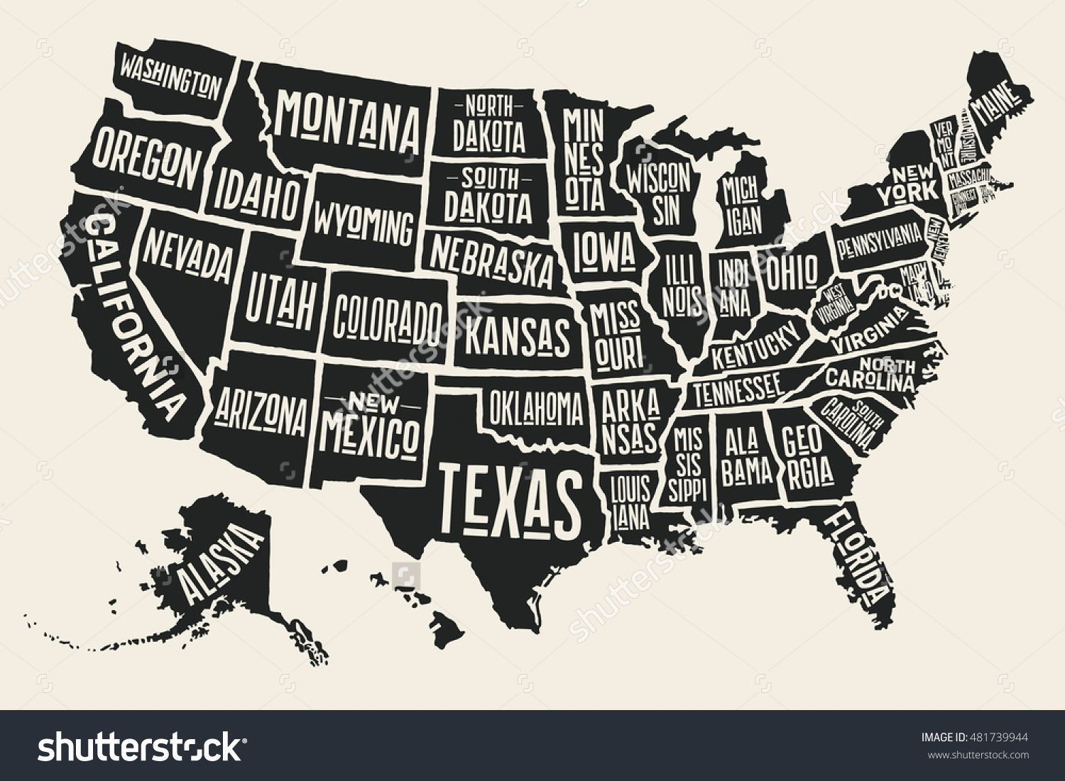 Line Art Usa Map : Poster map of united states america with state names black and