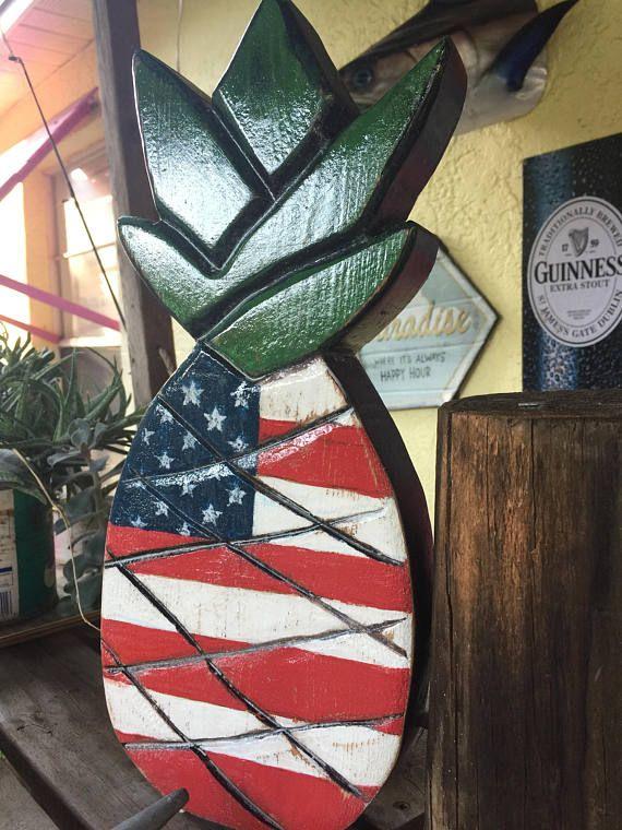 Patriotic 4th Of July Pineapple Flag Decor Door Hanging