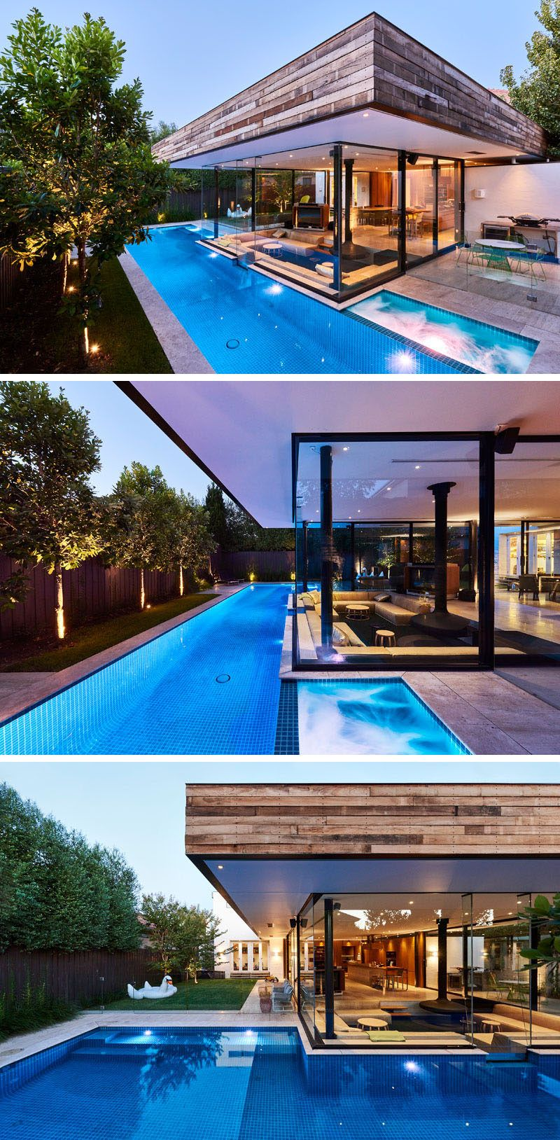 This House Has A Sunken Living Room So People Can Be At The Same Level As Those In The Swimming Pool Next To It Modern Pools Pool Houses Swimming Pool Designs