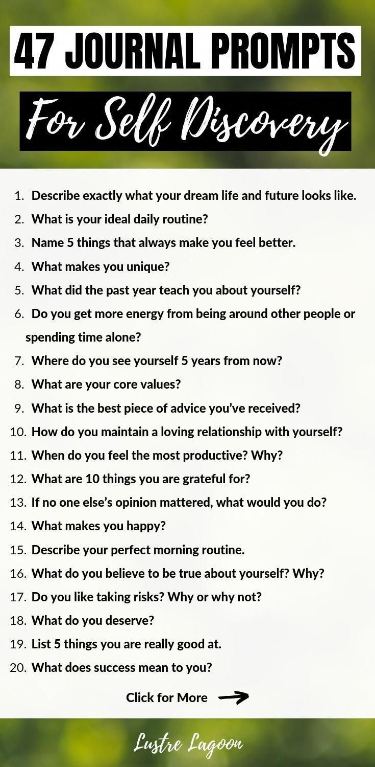 These 47 journal prompts for self discovery will help you manifest the life of your dreams and reconnect with your true sense of self. #journalprompts #selfdiscovery #journalpromptsforselfdiscovery #personaledevelopment #journalideas