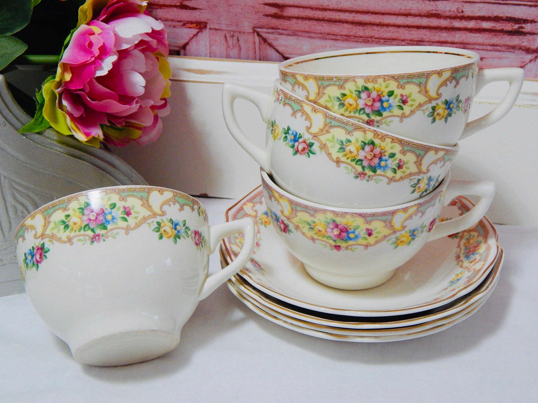 Vintage Ivory Floral Teacup And Saucer Set Pink Blue Yellow Teacup China Pink Tea Cups Tea Cups Tea Cups Vintage