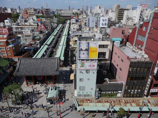 The Line of Progression Below by CentipedeCarpet  Via Flickr:  Looking down on the line of shops heading to Sensoji Temple (浅草寺), Asakusa, Tokyo. One of the most frequented spots in Japan, taken from another angle.