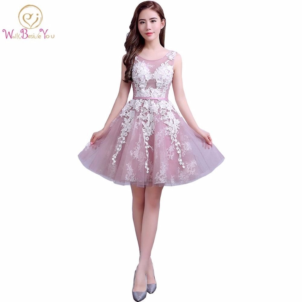 100% Real Images Lace Tulle 2017 Custom Cocktail Party Dresses Short ...