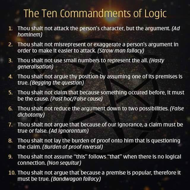 The 10 Commandments Of Logic Coolguides With Images Logical