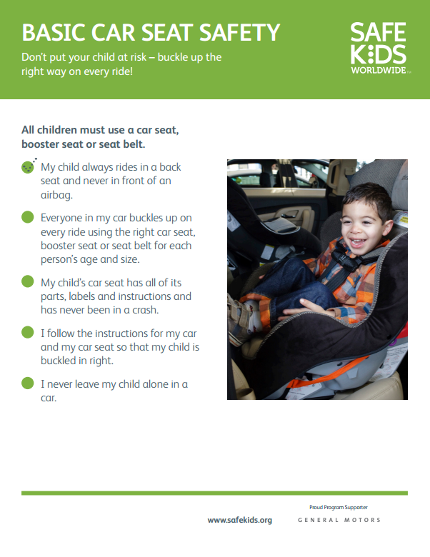 Basic Car Seat Safety Checklist Carseat safety, Child