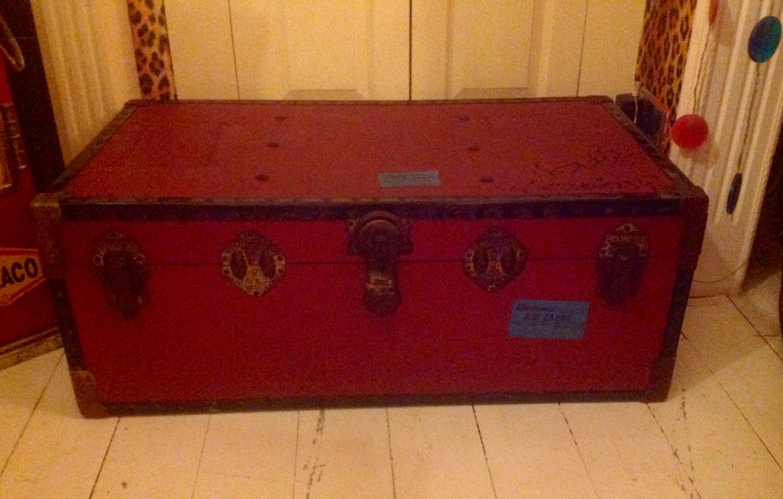 Large Vintage Red Overpond Steamer Trunk Shipping Chest Coffee Table Storage Nice Chunky Metal Locks And Studded Trim Gives This An Feel