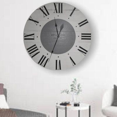 Gracie Oaks Oversized Hiles Farmhouse Wall Clock