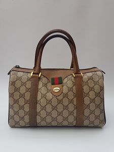 220a55bd6a7380 GUCCI Bag. Gucci Vintage Ophidia GG Supreme Brown / Beige Monogram Bowling Boston  Bag. Italian designer purse.