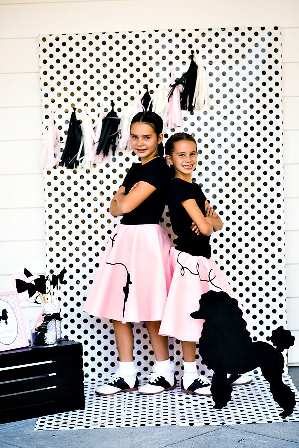 Darling Pink Black Poodle Skirt Birthday Party Retro Diner 50 S