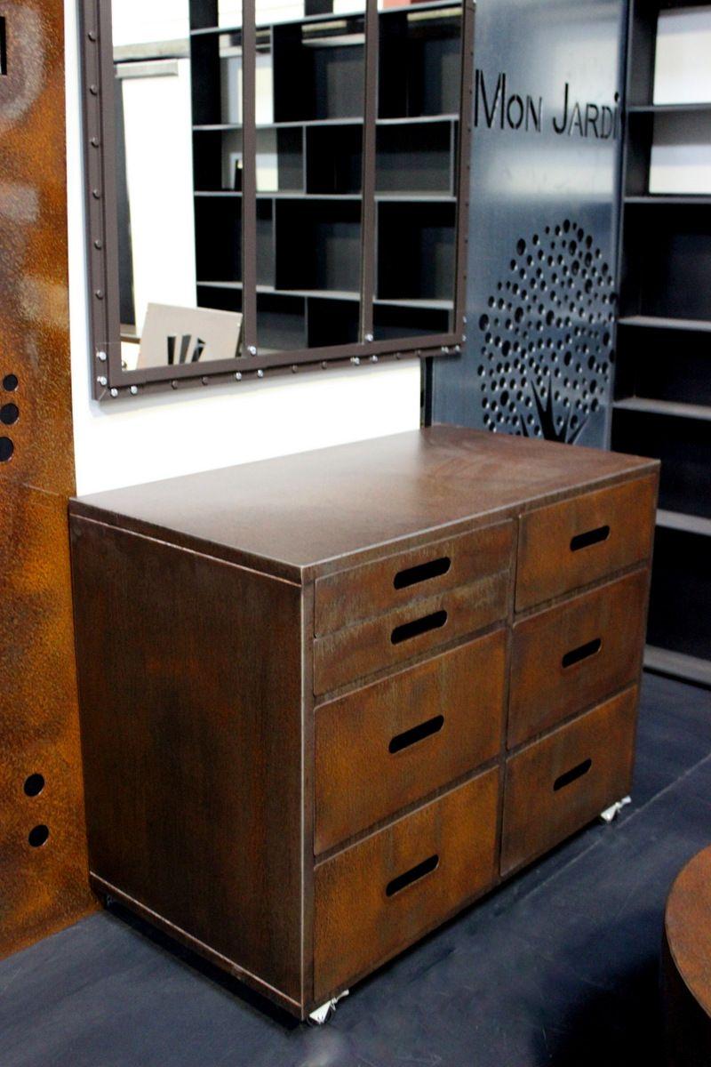 industrial style meuble de rangement 7 tiroirs sur roulettes en acier rouill by