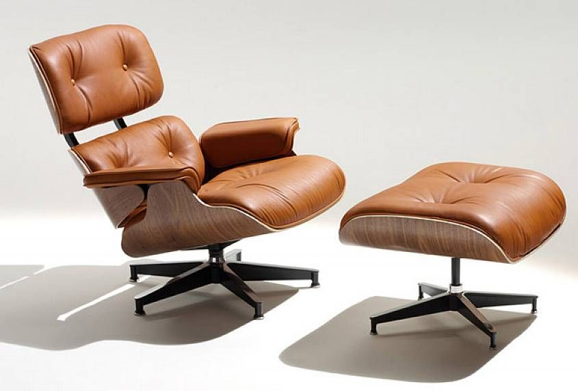 Delicieux Brown Leather Eames Lounge Chair And Ottoman Cushions With Varnishes  Plywood And Metal Claw Feet