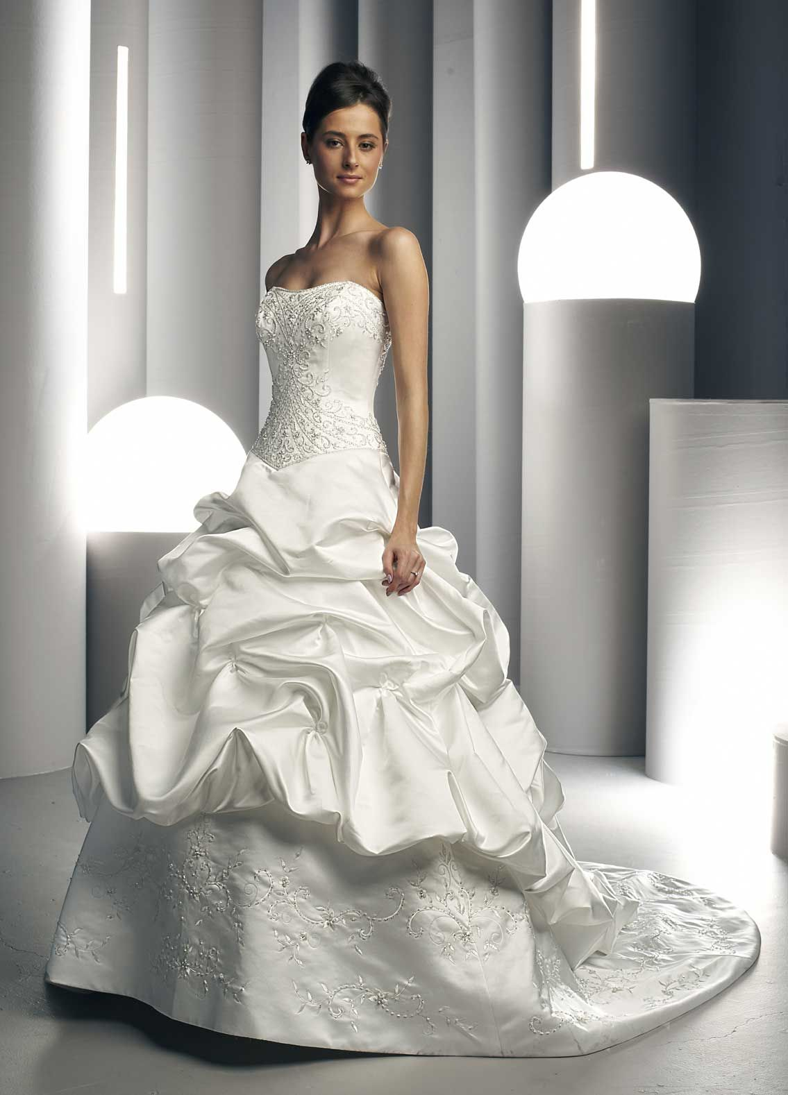 Aimee satin dress with sweetheart neckline bodice adorned with