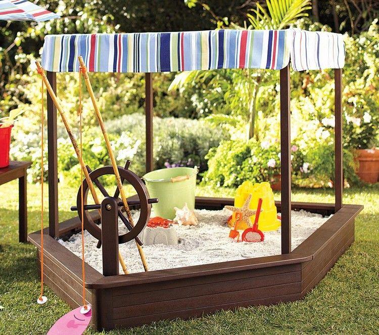aire de jeux enfant - bac à sable en forme de bateau en bois massif - Maisonnette En Bois Avec Bac A Sable