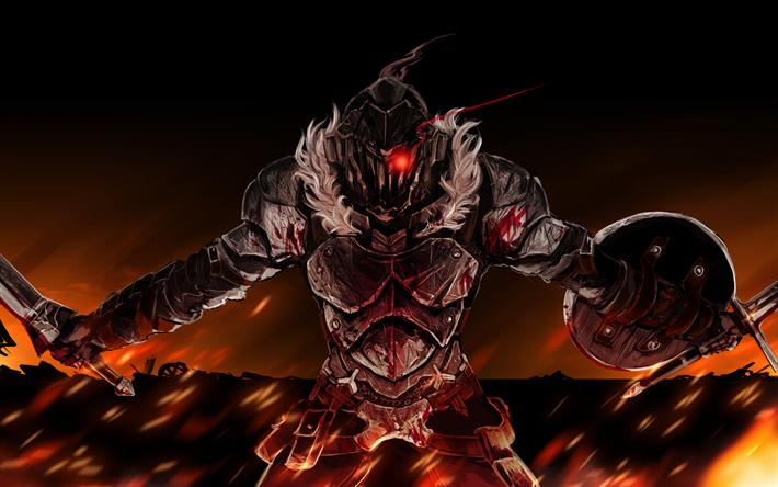 Download wallpapers Goblin Slayer, red eye, warrior, manga
