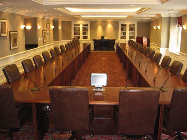 Series Horseshoe Conference Table Full Modesty Microphone - Horseshoe conference table