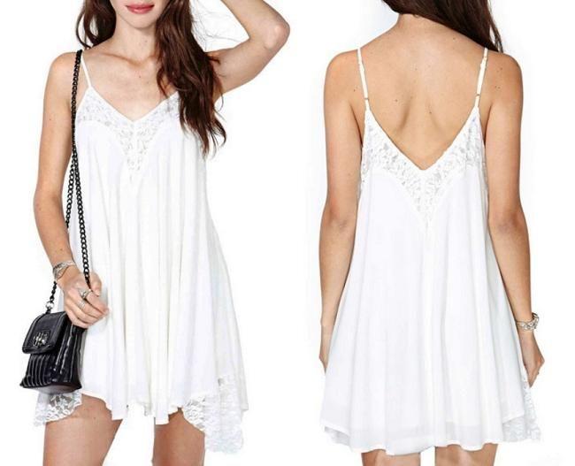 dfc5f550278b Classic Woman Backless V Neck Pleated Sleeveless Irregular Lace Vest Braces  Dress -- BuyinCoins.