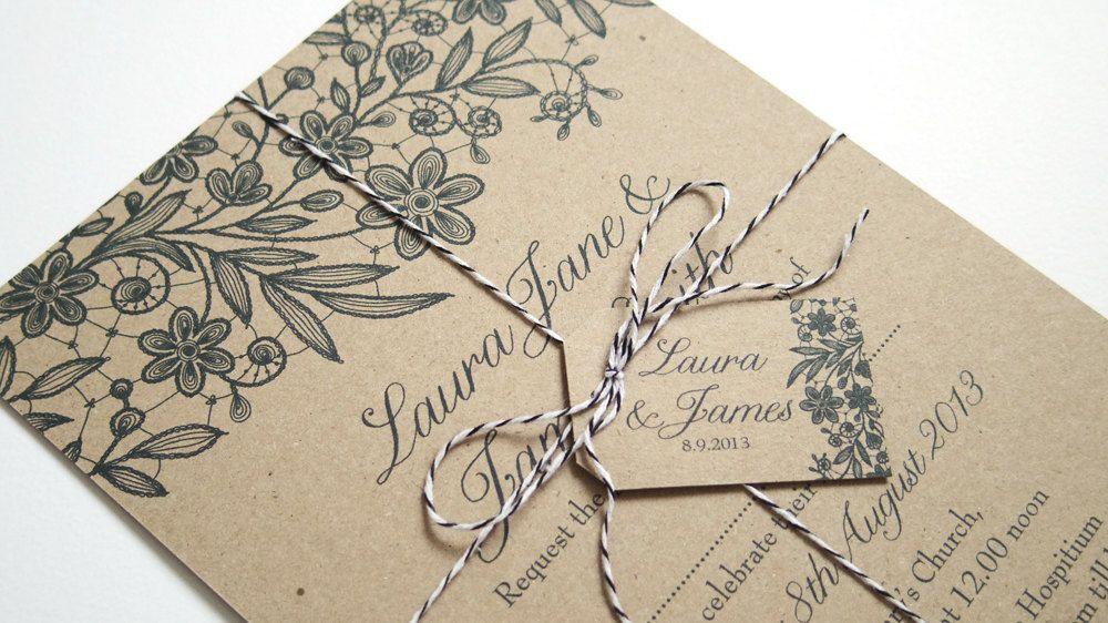 Kraft Lace Wedding Invitations, Black Lace Invitation