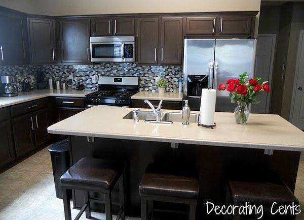 Remodelaholic Sleek Dark Chocolate Painted Cabinets Painting Kitchen Cabinets Painting Cabinets Dark Brown Cabinets