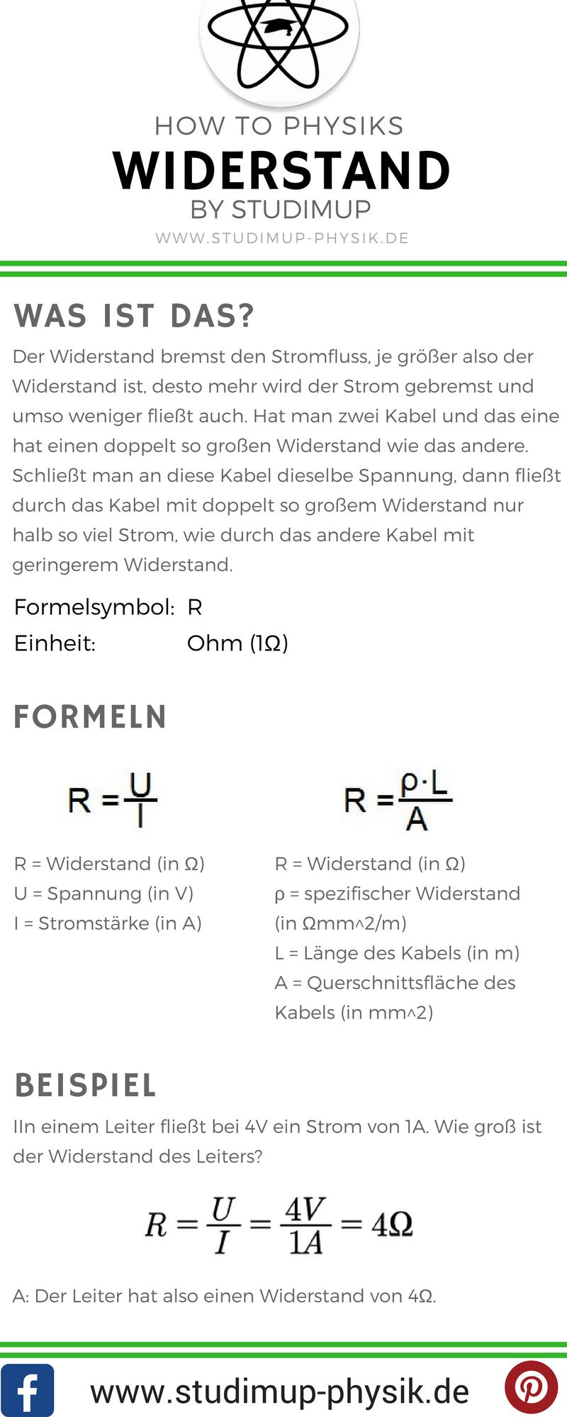 Spicker zum Widerstand mit den Formeln, Einheit und Beispielaufgabe ...