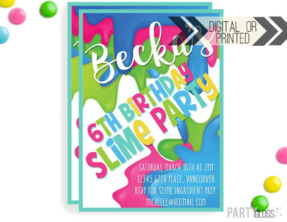 Slime Invitation Digital Or Printed Slime Party Invitation Etsy Slime Party Slime Birthday Slime Making Party